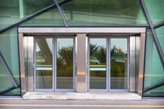 Aluminuim door and transparency glass., Entrance gate. Aluminuim door and transparency glass., Entrance gate, Steel door Royalty Free Stock Images
