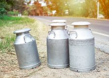 Aluminuim Milk tank. Raw milk in the tank wait for delivery to milk and cheese factory royalty free stock photos
