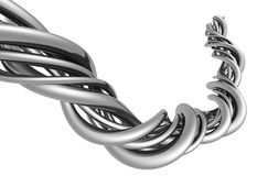 Aluminum abstract silver string. Artwork background 3d illustration Stock Image