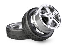 Aluminum alloy wheel and tyre for car. Royalty Free Stock Photos