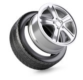 Aluminum alloy wheel and tyre for car. Stock Photo