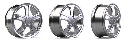 Aluminum alloy wheels set. 3D illustration high quality resoluti. On. Isolated on a white backround Royalty Free Stock Photos