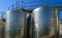 Aluminum barrels for vine Royalty Free Stock Photo