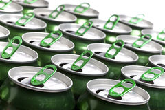 Aluminum beer cans. Close up in a sunny day Royalty Free Stock Photography
