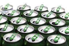 Aluminum beer cans. Close up in a sunny day Stock Photo