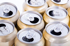 Aluminum beer cans. Macro shot of Aluminum beer cans Royalty Free Stock Image