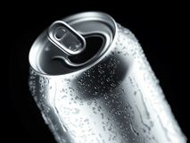 Aluminum beer or soda can with droplets on black background, 3d rendering. stock images
