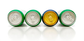 Aluminum beverage cans on a white background Stock Photo