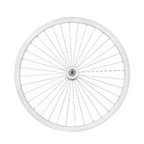 Aluminum bicycle wheel. Without tire. Top view, isolated on white, clipping path included Stock Photos