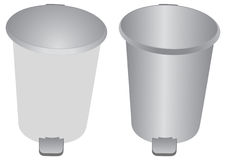 Aluminum bin and Garbage can. Garbage can or bin is a design illustrator Stock Photo