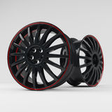 Aluminum black wheel image 3D high quality rendering. White picture figured alloy rim for car. Aluminum black wheel image 3D high quality render. White picture Royalty Free Stock Photo