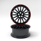 Aluminum black wheel image 3D high quality rendering. White picture figured alloy rim for car. Aluminum black wheel image 3D high quality render. White picture Stock Images