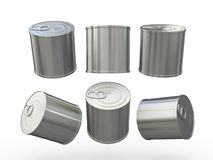 Aluminum blank food  tin can  with pull tab, clipping path inclu Stock Photos