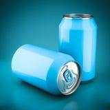 Aluminum blue cans Royalty Free Stock Photos