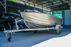 Aluminum boat 14 feet wait for paint stock images