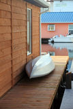 An aluminum boat on the patio. Stock Image
