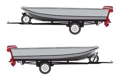 Aluminum Boat on Trailer. An aluminum boat with a red outboard motor is strapped to a trailer and ready for use stock illustration