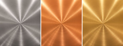 Aluminum brass bronze metal plates cone gradient Royalty Free Stock Images