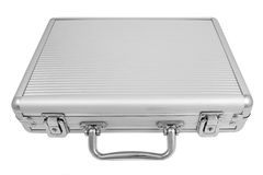 Aluminum briefcase. Isolated on white Stock Images