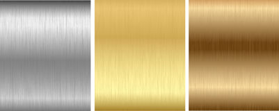 Aluminum, bronze and brass stitched textures Stock Image