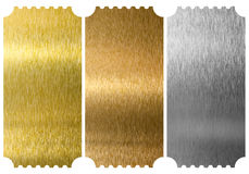 Aluminum, bronze and brass tickets isolated Royalty Free Stock Image