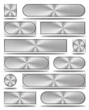 The aluminum buttons. Set of modern aluminum buttons in different sizes, shapes and colors Royalty Free Stock Photography