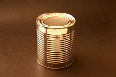 Aluminum can. Without sticker on a brown background Stock Images