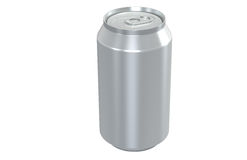 Aluminum Can. Isolated on white no shadow for Clipping Path. Copy Space Stock Image