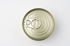 Aluminum can, canned food isolated over white Royalty Free Stock Photos