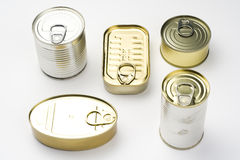 Aluminum can, canned food isolated over white Royalty Free Stock Photo