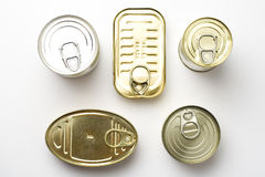 Aluminum can, canned food isolated over white Stock Images