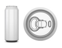 Aluminum can for cola. Isolated on white background. Side and top views. 3d illustration Stock Photos
