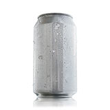 Aluminum can with condensation drops for mock up. Aluminum can without labels or marks, showing condensation drops and ice chips that show freshness to the eye Stock Images
