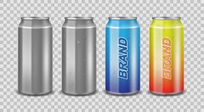 Aluminum can empty and with label. Realistic can with water drops for beer, juice or energy drink mockup isolated vector illustration
