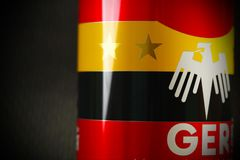 Aluminum can with flag screen. Royalty Free Stock Images