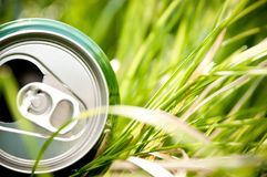 Aluminum can in grass Stock Image
