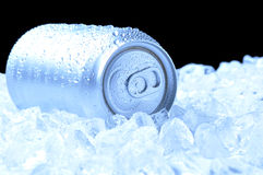 Aluminum Can in Ice with cool tones Stock Photos