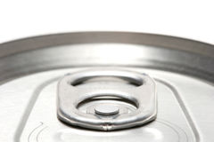 Aluminum can macro. Aluminum can abstract macro, highkey top view with shallow depth of field and focus on the... little round pin thing Stock Photos