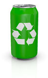 Aluminum can with recycling symbol Royalty Free Stock Photography