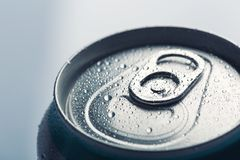 Aluminum can with water drops Royalty Free Stock Photos