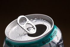 Aluminum can with water drops Stock Image
