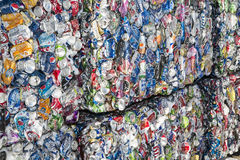 Aluminum cans bale recycling. The recycling center sorts and bales the beverage pop, soda and beer cans and stores for recycling Royalty Free Stock Image