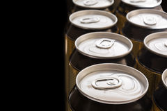 Aluminum cans on a black background Stock Image