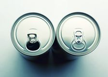 Aluminum cans closeup picture Stock Photos