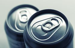 Aluminum cans closeup picture Royalty Free Stock Photos