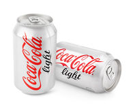 Aluminum cans of Coca-Cola Light Stock Images