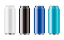 Aluminum cans for drinks. Big size Stock Images