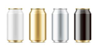 Aluminum cans for drinks. Medium size Stock Images