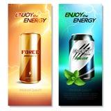 Aluminum Cans Drinks Vertical Banner Set. Two isolated aluminum cans drinks vertical banner set with enjoy the energy descriptions vector illustration royalty free illustration