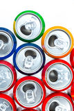 Aluminum cans. Empty opened aluminum cans isolated on white background stock photo